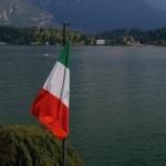 Italian flag at Lake Como