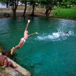 Kids play in a pool
