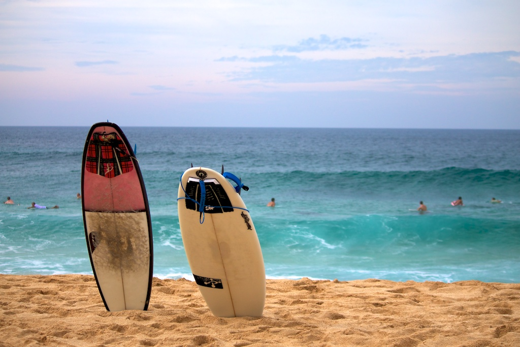 surfboards at Pipeline