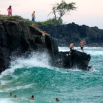 cliff jumpers at Waimea Bay