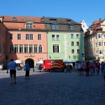 regensburg bright houses around cathedral square germany