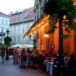 Budapest restaurant at night