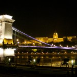 Chain Bridge Budapest at night on river