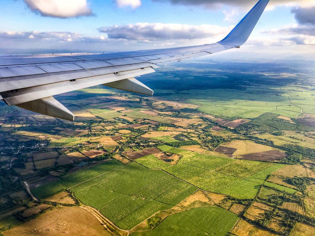 plane wing over cuba